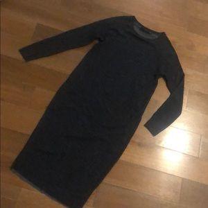 Zara TRF Casual Long Sleeve Midi Dress - navy blue